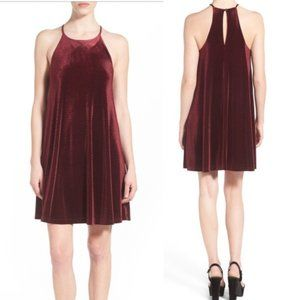 Everly Velour Burgundy Swing Dress